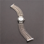Silver watch with sterling silver chainmaille cuff. Handcrafted watchband.