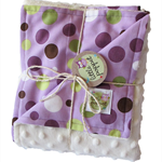 Stroller blanket - Purple spots with white minky