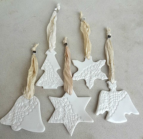 christmas decorations ornaments gift tags shabby chic ceramic - Ceramic Christmas Decorations
