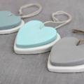 Two Clay Hearts on a String Decor in Turquoise, Grey or Ocean Green