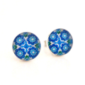 Sterling silver & resin studs - Little blue flowers - Surgical steel posts