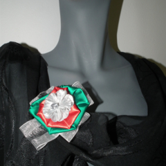 Christmas Satin Brooch...red green white silver Festive Xmas clip fascinator