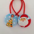 Christmas fabric button hairties