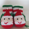 Baby Rattle and Matching Bootees in a Santa Pattern