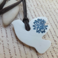 White Polymer Clay Bird Necklace