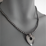Energized Heart..SALE Hematite heart hole metal look necklace