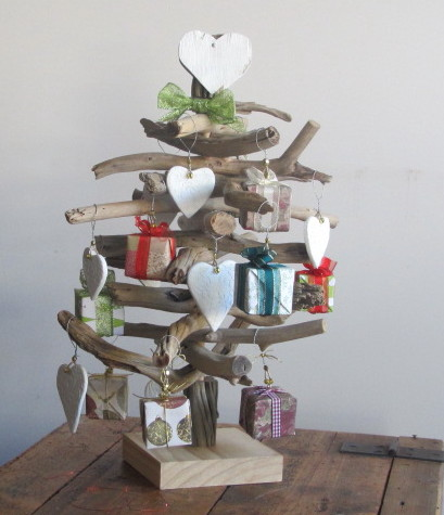 Driftwood Christmas Tree Complete With Present Decorations