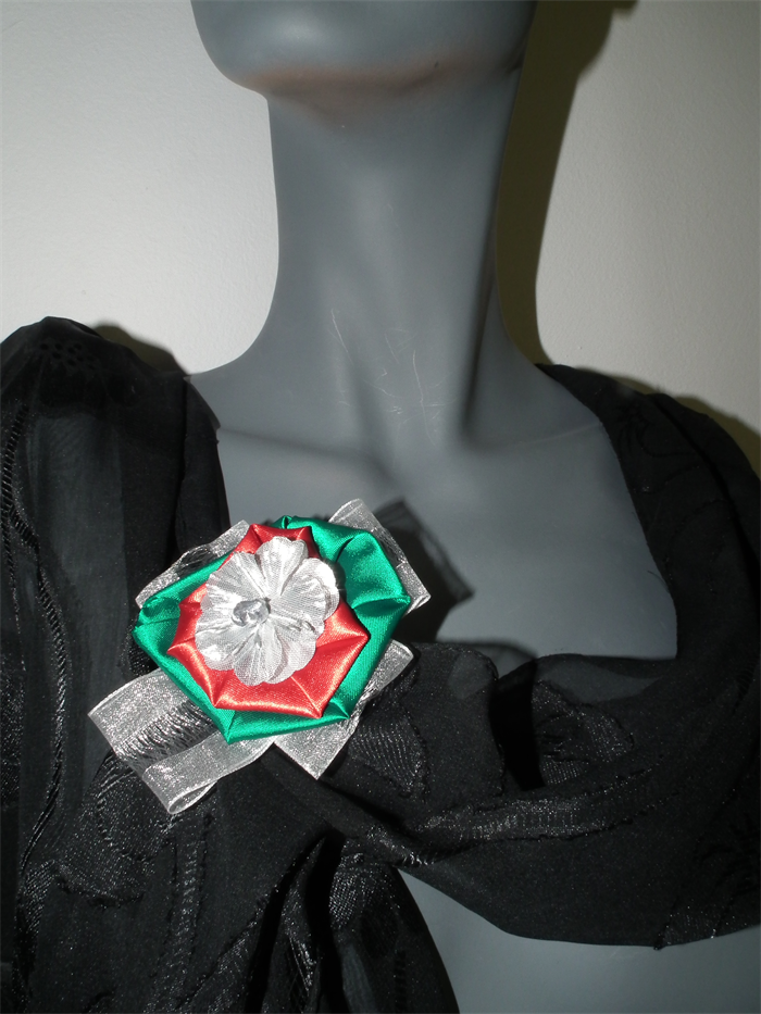 Christmas Satin Brooch...red green white silver Festive Xmas clip fascinator   68e11d9b2b3