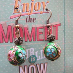 Green Flower Cloisonne Earrings
