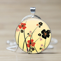 Poppies Glass Tile Pendant
