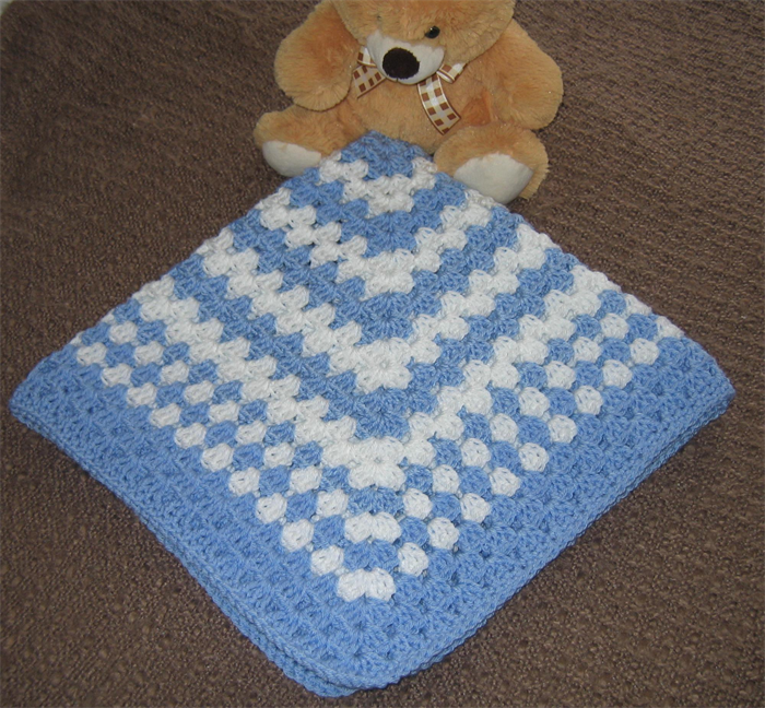 Baby Boy Light Blue White Very Soft Handmade Crochet Baby
