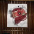 Rosa Bloom SALE red black rose ribbon Tulle Spotted Net Vintage brooch clip