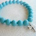 Swarovski Turquoise Pearls, Sterling Silver, stretch bracelet