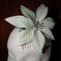 SALE  White Sparkles..off-white Pointsettia flower Silver glitter comb slide