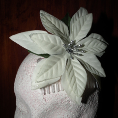 SALE  White Sparkles..off-white Pointsettia flower Silver glitter comb slide