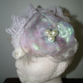 Magical Wonderlust SALE Mauve Purple Cream headpiece  Lace Metallic Neon