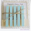 White Stars on Blue - Magnet Pegs - Magnetic Memo Pegs - Set of 5