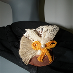 FOR SASHA. Yellow Bow Cream Lace Hessian Brooch Pin