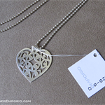 Sterling silver long chain with 'Heart Eyes' pendant; all 925 silver