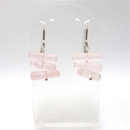 Rose quartz cylinder beads sterling silver earrings