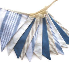Coastal Beach House Flag Bunting. Boys Blue Banner Pennant Decoration
