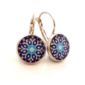 Earrings - Light blue & navy floral wheels - Vintage patterns in resin