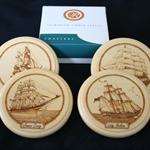SAILING SHIPS Tasmanian Huon Pine Coasters