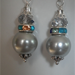 Gatsby Ritz..grey Shell Pearl  multi coloured crystal rondelle earrings