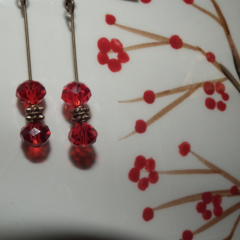 Honey Bug Duo SALE red Swarovski crystal and brass accents gift  long earrings