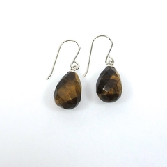 Tiger eye briolettes sterling silver earrings
