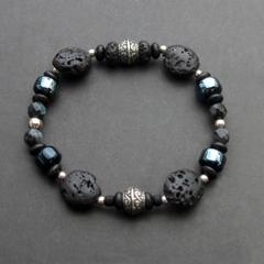 Black lava sterling silver stretchy bracelet. Black beaded bracelet.