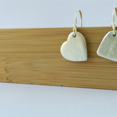One Love - Heart - Fine Silver earrings with Sterling Silver hooks