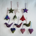 12 Handmade Felted Christmas Decoration 3 birds 3 stars 3 trees 3 hearts