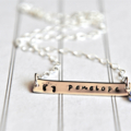 New Mum Necklace Personalized Hand Stamped Bar Necklace Baby Feet Birthstone
