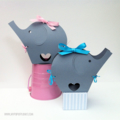 Grey Elephant Baby Shower gift boxes. Baby gift bag, first birthday, favours.