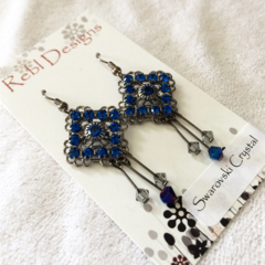 Blue Swarovski Crystal drop earrings
