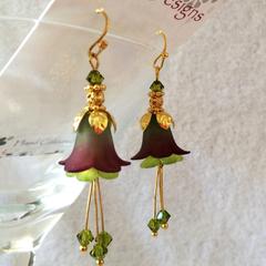 Green and Burgundy Flower Earrings