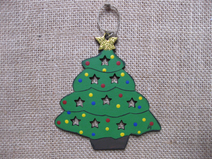 Hand Painted Wooden Christmas Die Cut Ornament Featuring A Christmas