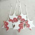 Red star Christmas decorations, porcelain, ornaments, gift tags, Ceramic.