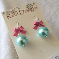 Ice blue and pink Bow earrings