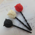 Black Red & Ivory Owl Hair Clips-3 hair clips