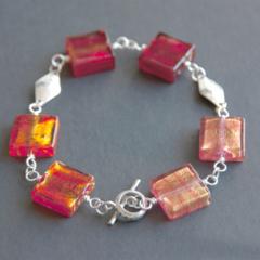 Red Venetian Murano glass beaded sterling silver bracelet.