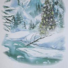 Christmas Tea Towel - Vintage snow and tree scene