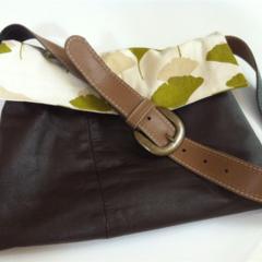 Eco handmade leather handbag with gingko leaf fabric