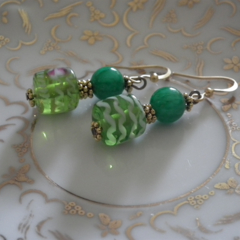 Watermelon Crush. SALE genuine green Jade gemstone green pink white earrings