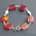 Red Venetian Murano glass beaded sterling silver bracelet.