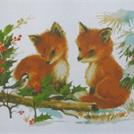 Christmas Tea Towel - Foxes in snow