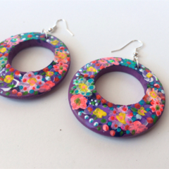 Frida Kahlo free shipping colourful flowers hand painted earrings art large ooak