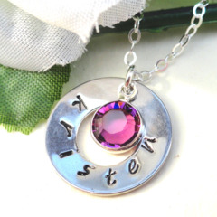 Hand Stamped Silver Washer Personalized Birthstone Necklace Customized Jewellery