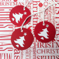 Christmas Tree gift tags. Red & white with rhinestone. Hand punched